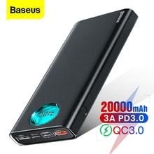 Batterie de puissance Baseus 20000 mAh Type C PD Charge rapide 3.0 20000 mAh Powerbank pour Xiaomi Mi iPhone chargeur de batterie externe Portable