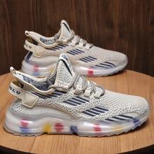 2021 nowych mężczyzna Chunky Fly Weave trampki grube dno platformy Vulcanize buty moda oddychające dopasowane kolory buty do biegania tanie tanio LANSHITINA Siateczka (przepuszczająca powietrze) CN (pochodzenie) ZSZYWANE Mieszane kolory Dla osób dorosłych Na wiosnę jesień