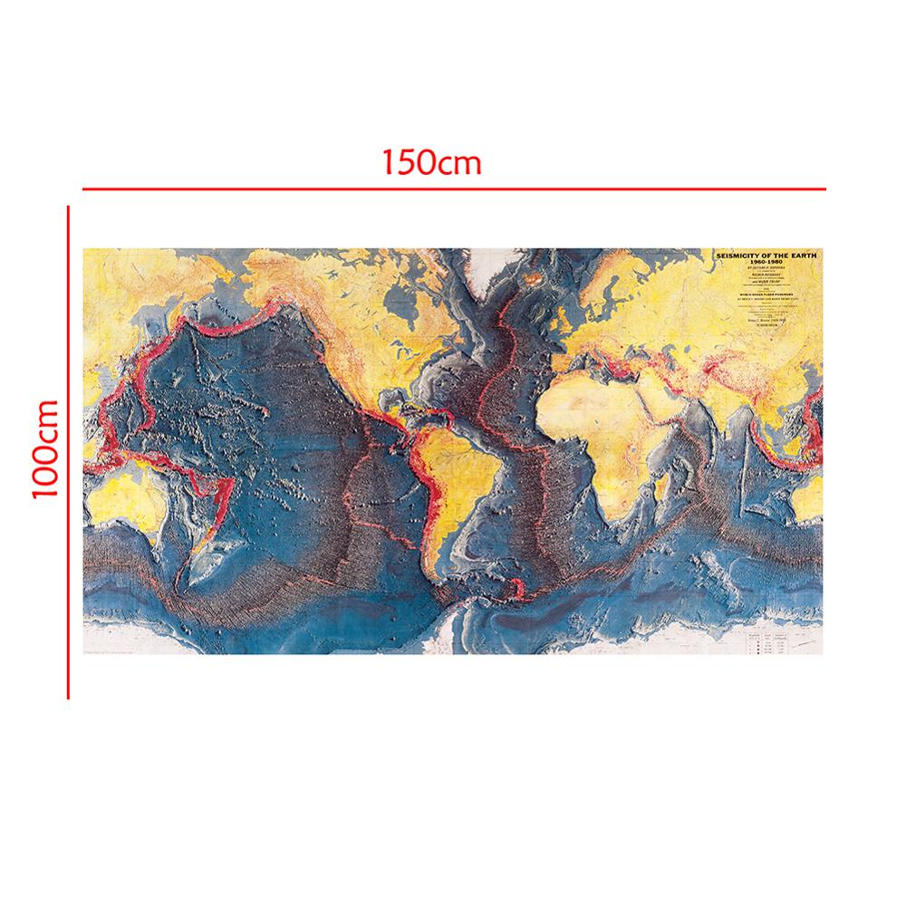 Seismicity Of The Earth World Ocean Floor Panorama Of 1960-1980 For Research In Geology And Geography 150x100cm