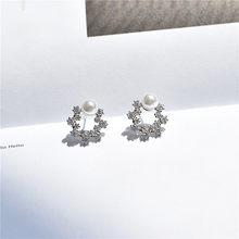 Korean Fashion Hollow Versatile Snowflake Earrings Feminine Flower Imitation Pearl Zircon Circle Earrings Beautiful Gift Simple(China)