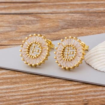 Fashion 26 Initial Letter Earrings Personalized Gift for Women Cute Alphabet AAA Cubic Zirconia Gold Stud Earrings Jewelry 4