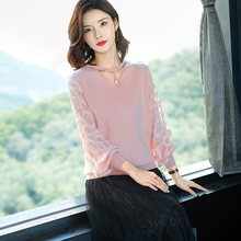 Pure color  fashion v-collar women Thin sweater spring and autumn sexy Women cotton yarn sleeve Pullover 2019 new
