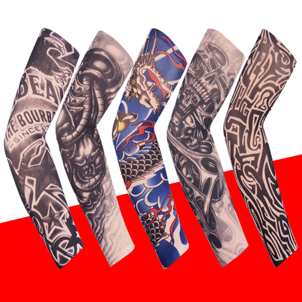 1PCS Unisex Summer Fake Tattoo Arm Sleeves For Men Unisex Women Sunscreen Arm T Shirt UV Protection Hip Hop Punk Slip On Tattoo