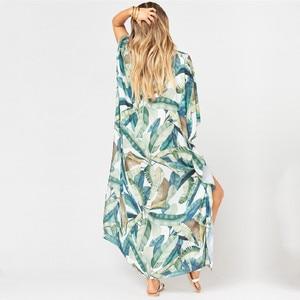 Image 4 - 2020  Quick drying Bohemian Women Summer Beach Dress Swim Wear Cover Up Tunic Sexy Deep Kaftan Beach Bikini Cover ups pareo Q930