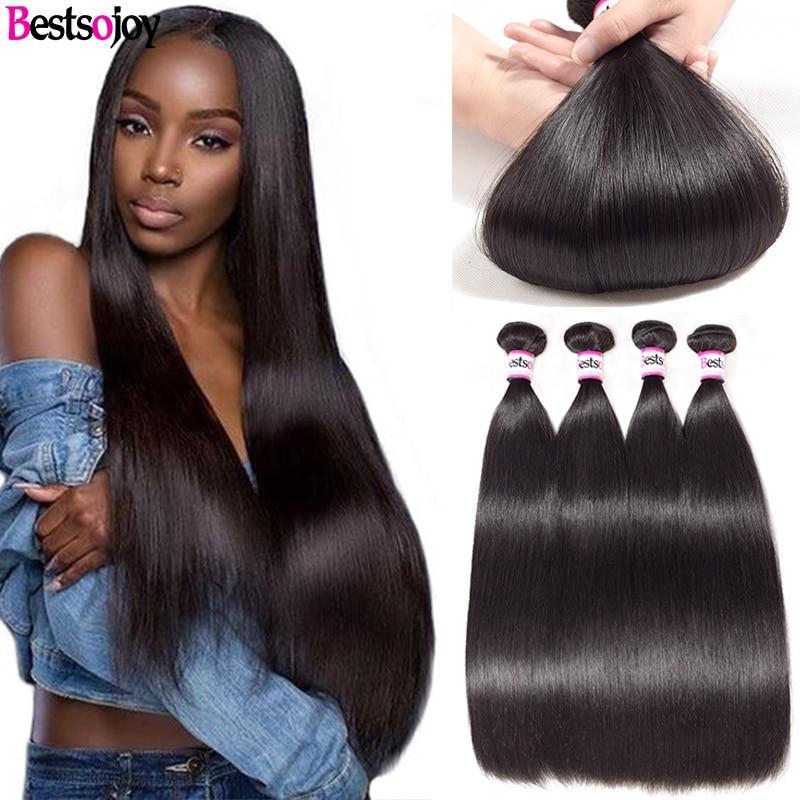 Bestsojoy 4 Bundles Brazilian Straight Hair Bundles Remy Human Hair Weave Bundles Natural Black