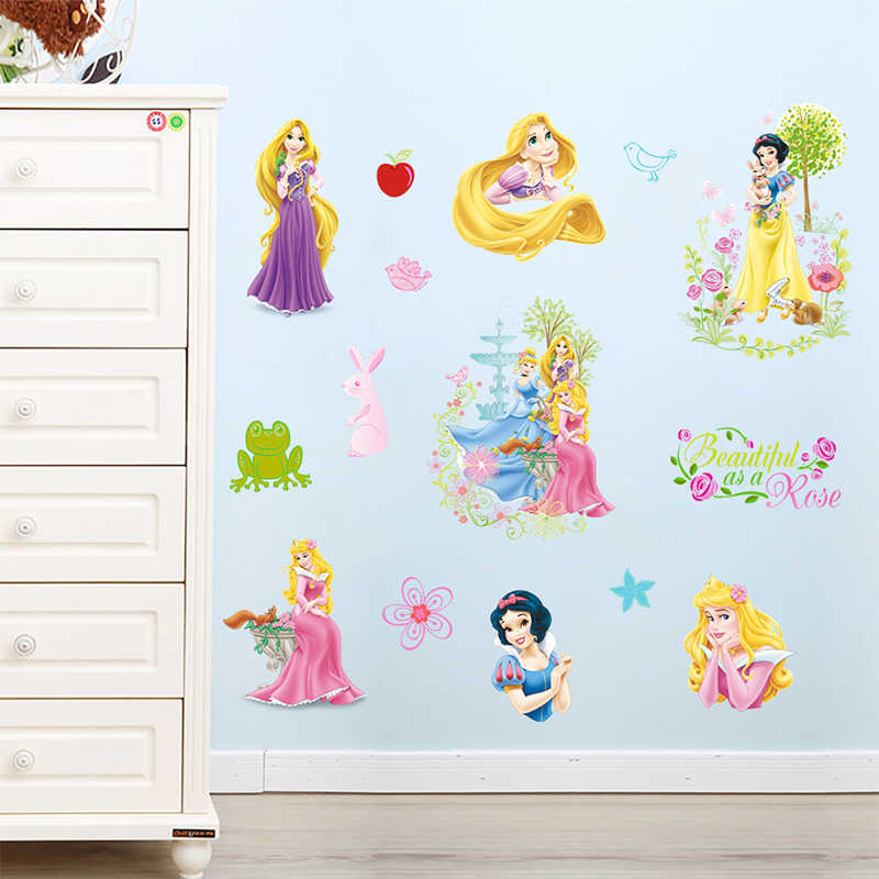 Disney Cartoon Snow White Rapunzel Aurora Princess Wall Stickers For Girl's Room Decoration DIY Kids Wall Decals PVC Art Poster