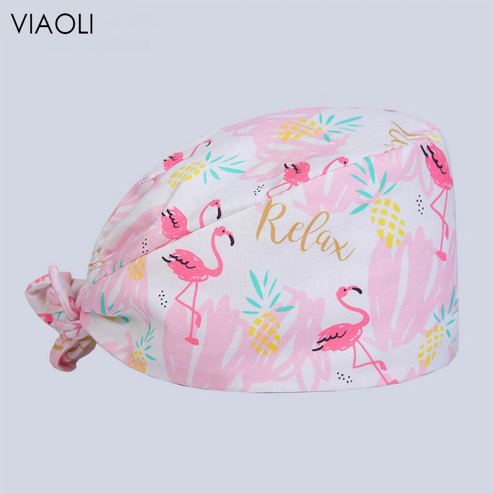 Viaoli Cotton Women And Men Scrub Caps Pharmacy Hats Hospital Medical Nurse Hat Elastic Dentist Cap Surgical Cap Nursing Scrubs