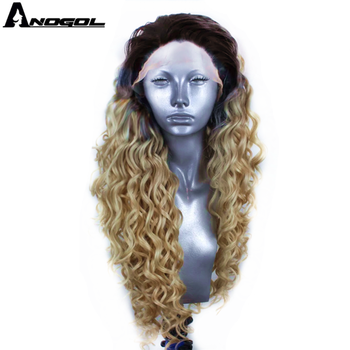 Anogol Dark Roots Ombre Blonde Synthetic Lace Front Wig Afro Long Kinky Curly Heat Resistant Wig for Women should length dark root ash blonde lace front wig synthetic