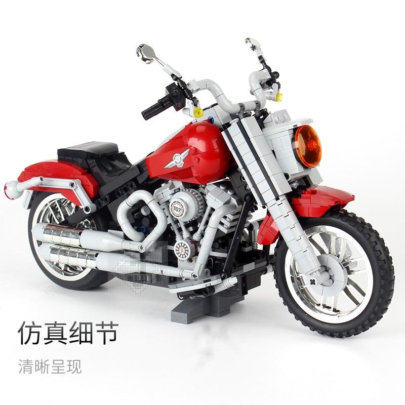1251 PCS Technic Classic Davidson Fat Boy Motorcycle Bike Building Blocks Bricks Model Kids Toys Gifts Compatible Legoinglys