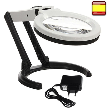 Lupa con Luz 10 Led, lámpara para luces de jardín, espejo Plegable,...