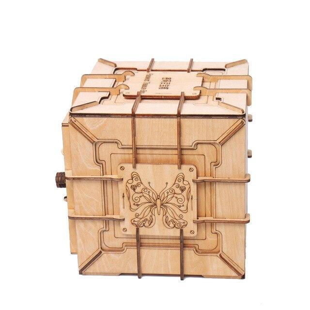 Детская 3d деревянная Механическая коробка для сокровищ с паролем