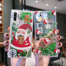 Liquid Christmas Case For Samsung S10 Plus Cover Note 10 Pro S8 S9 Lite 8 9