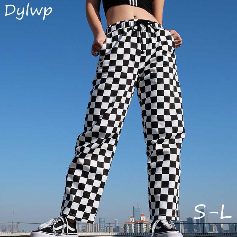 Fashion Black White Checkered Pants Women High Waist Straight Loose Sweat Plaid Trousers Ladies Casual Streetwear Sweatpants