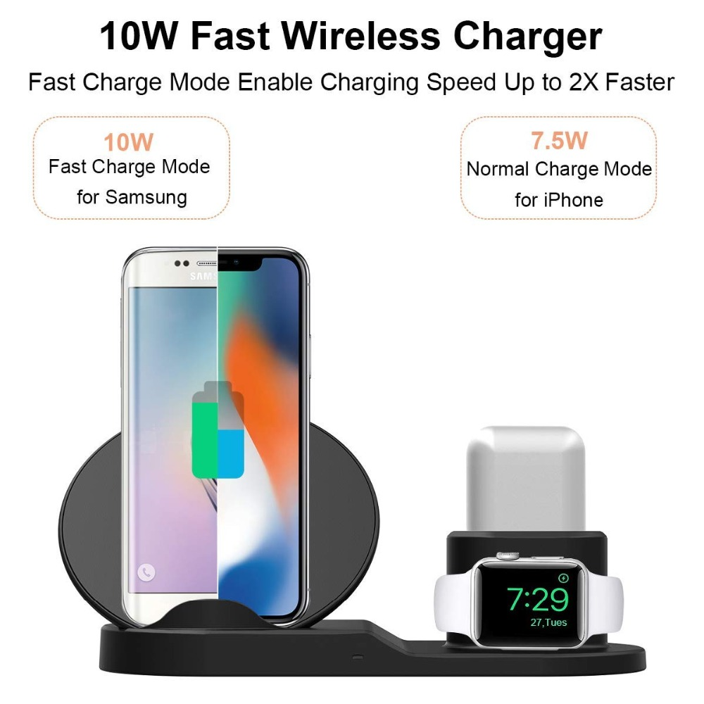 Image 2 - For Apple watch 4 5 3 2 stand 3 In 1 Qi Wireless Charger Fast Charging For iPhone XS Max XR X 8 Plus Samsung S9 S8 Note 9 Airpod-in Watch Stents from Watches