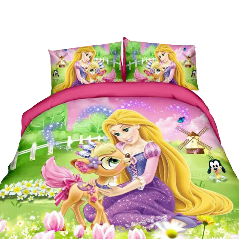 Tangled Rapunzel Princess Bedding Set For Kids Bedroom Decor Single Twin Size Bedspreads Duvet Covers Sheets Girls Home 2-4pcs
