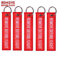 5 PCS/LOT Remove Before Flight Woven Keychains Special Luggage Label Red Chain Keychain for Aviation Gifts Keyring Jewelry