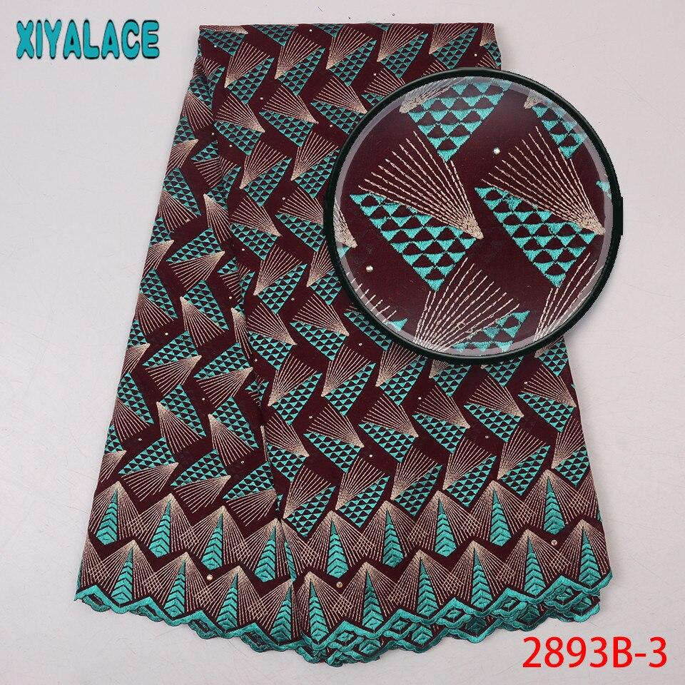 Derniers lacets africains 2019 haute qualité nigérian sec dentelle tissu coton dentelle tissu avec des pierres pour les femmes KS2893B-4 - 3