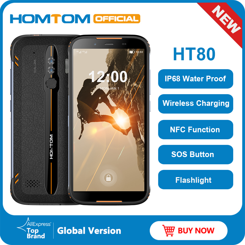 <font><b>HOMTOM</b></font> HT80 IP68 Waterproof Smartphone 4G LTE Android <font><b>10</b></font> 5.5inch 18:9 HD+ MT6737 Quad Core NFC Wireless charge SOS Mobile phone image