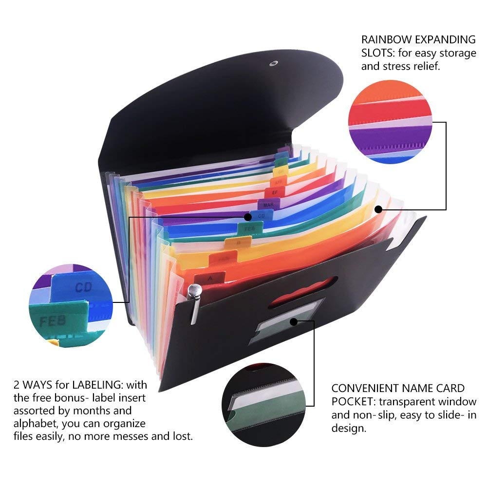 Expanding A4 for File Holder  Office Supplies Plastic Rainbows Organizer A4 Letter Size Portable Documents Holder Desk Storage 3