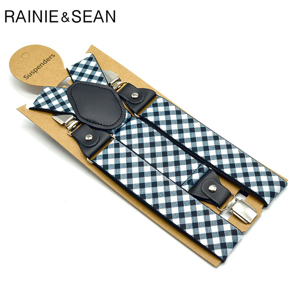 RAINIE SEAN Mens Suspenders Braces Plaid Formal Braces Elastic Suspender Straps Mens Trouser Belt 3.5*120cm Men Accessories