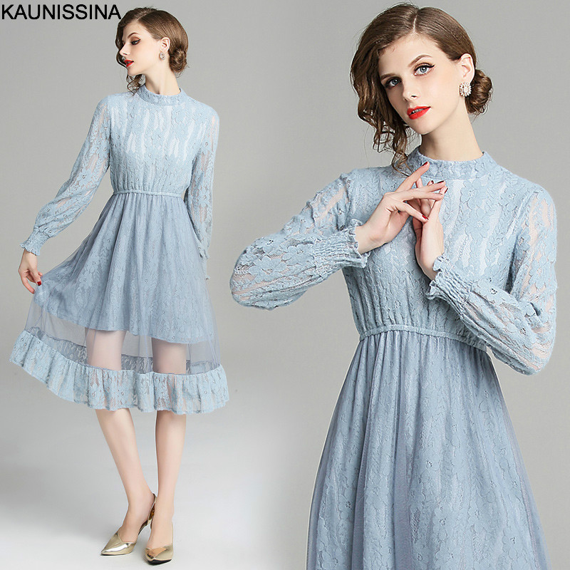 KAUNISSINA Lace Cocktail Dress Spring Autumn Banquet Robe Long Sleeve Knee Length Fashion Cocktail Dresses Party Gown