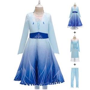 Платье для девочек детская одежда на Рождество с изображением Анны и Эльзы 2 Косплэй, раздел-платья для девочек Одежда на выход детская Снеж...