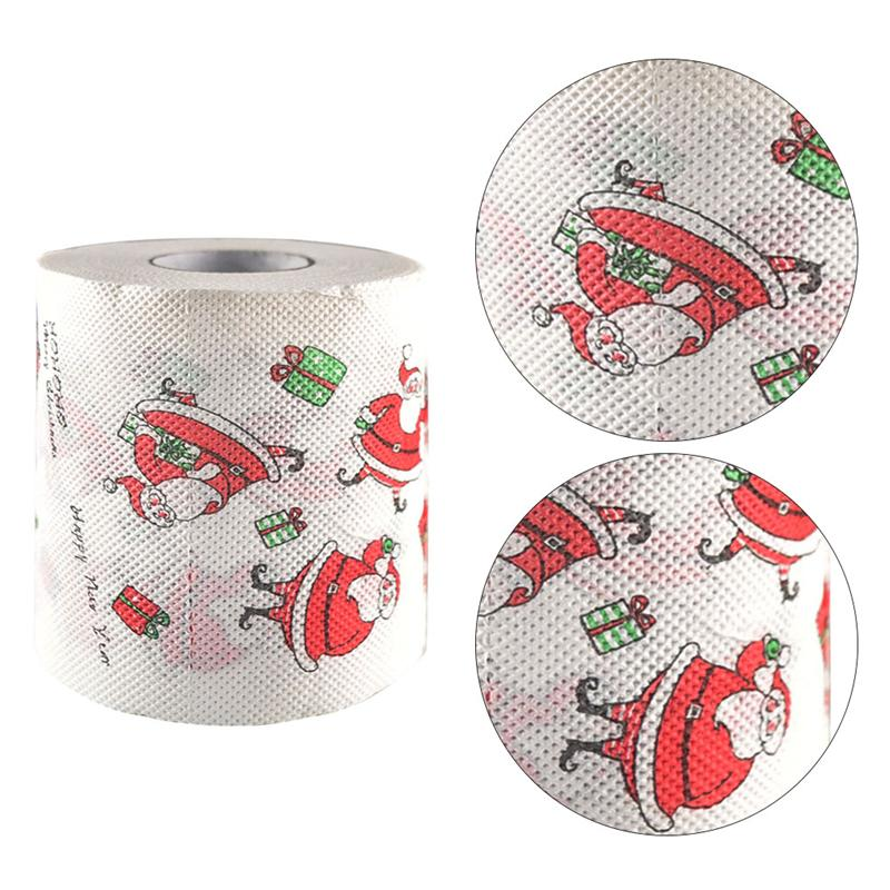 Creative Toilet Paper Roll Christmas Santa Printing Roll Paper Colored Printed Christmas Bath Tissue