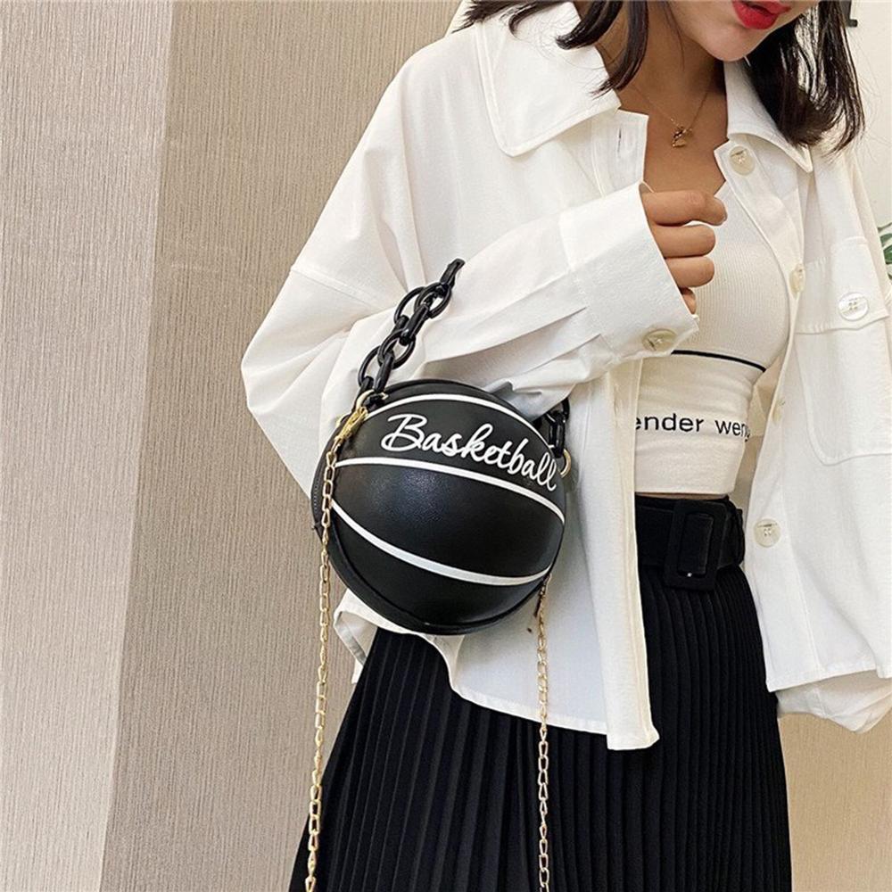 Новая индивидуальная женская кожаная баскетбольная сумка, новинка 2021, кошельки с мячом для подростков, женские сумки через плечо, ручные сумки через плечо с цепочкой-1