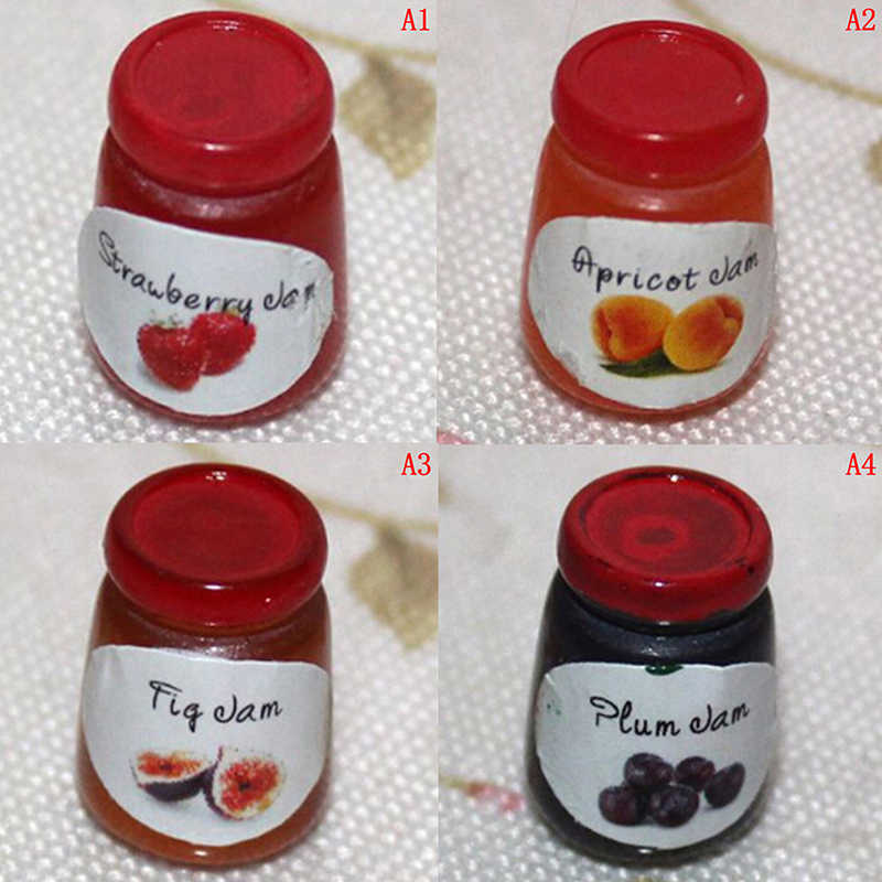 Miniaturowe akcesoria do domku dla lalek dżemy miniaturowa kuchnia domek dla lalek kuchnia 1 butelki dżemy diy domek dla lalek Food Play 1:12 akcesoria