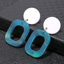 Baru Fashion Square Akrilik Stud Anting-Anting Sederhana Round Geometris Pantai Hawaii Anting-Anting Vintage Pernyataan Perhiasan(China)