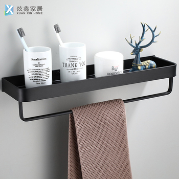 Bathroom Storage Shelf Black Towel Rack Space Aluminum Toilet Square Hanger With Hook Holder 23-50CM Kitchen Storage Bar
