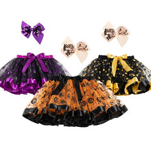 Tutu Skirts For Girls Children Kids Girl Ghost Print Bow Bubble Skirt Halloween Costume Clothing Party Wear with Hair Decoration(China)