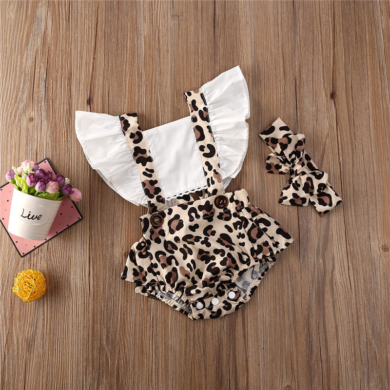 Newborn Baby Girls Clothes Leopard print backless Ruffle square collar Bodysuit bow Geometry Headband 2pc Outfits(China)