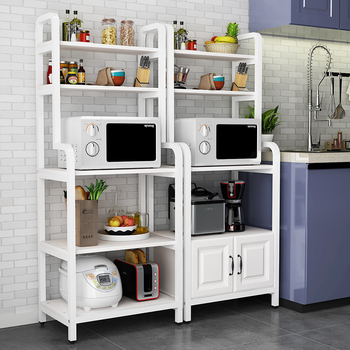 Kitchen shelves landing multi-layer microwave oven shelves cabinets oven storage shelves household cabinets pan bowls фото