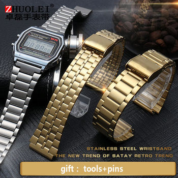 Stainless steel watchband for small gold watch Casio A168WA-1W/9W watch straps 20*18mm lug end bands фото
