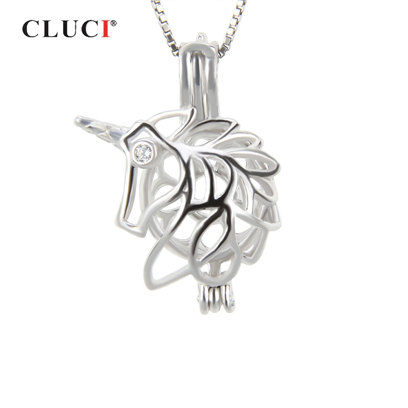 CLUCI 925 Sterling Silver Charms Pendant For Women Necklace Jewelry Romantic Shaped Cage Pendant 925 Silver