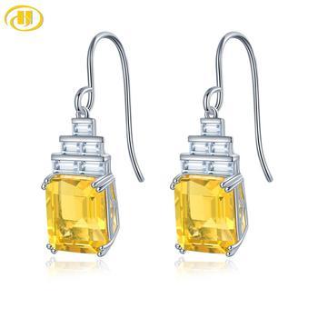 Hutang 11ct Yellow Fluorite 925 Silver Drop Earrings for Women Genuine Topaz Gemstone Sterling Silver Fine Elegant Jewelry Gift