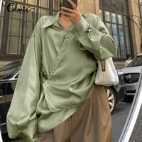 Celmia Elegante Satin Bluse Frauen Stilvolle Lange Hülse Elegante OL Shirts Revers Einfarbig Casual Tasten Büro Tops Plus Größe 7