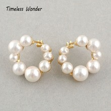 Timeless Wonder Glam Front Back Dislocate Pearl Round Stud Statement Earrings Women Jewelry Gothic Boho Punk Runway Rare 5323