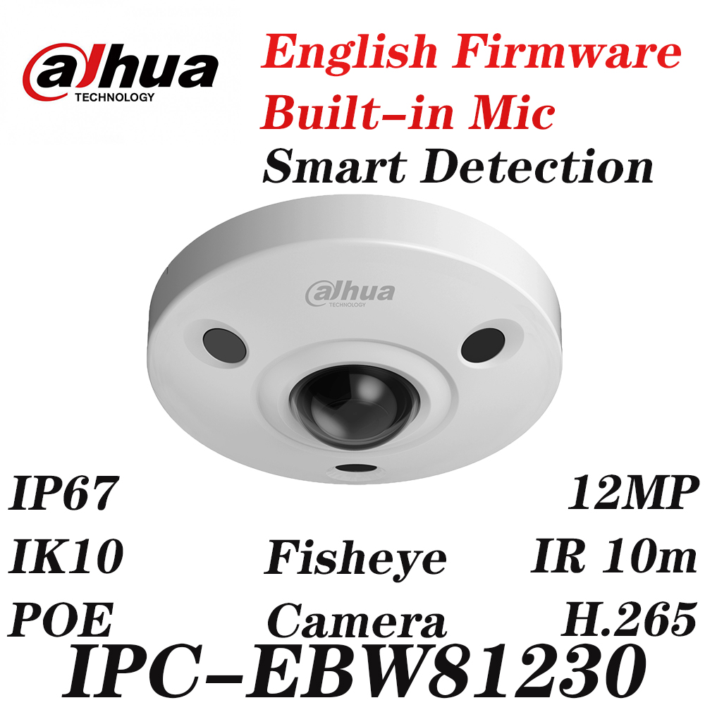 <font><b>Dahua</b></font> IPC-EBW81230 <font><b>12MP</b></font> Panoramic Network IR Fisheye <font><b>IP</b></font> <font><b>Camera</b></font> IP67 IK10 PoE Audio and Alarm with Express Ship without logo image