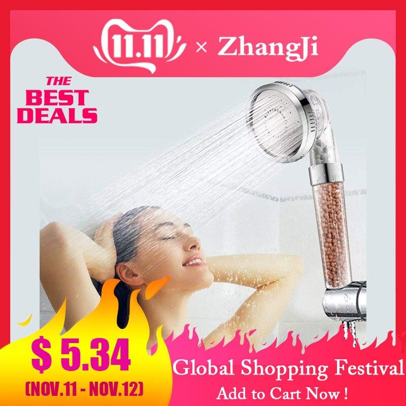 ZhangJi 3 Modes Bath Shower Adjustable Jetting Shower Head High Pressure Saving Water Bathroom Anion Filter Shower SPA Nozzle