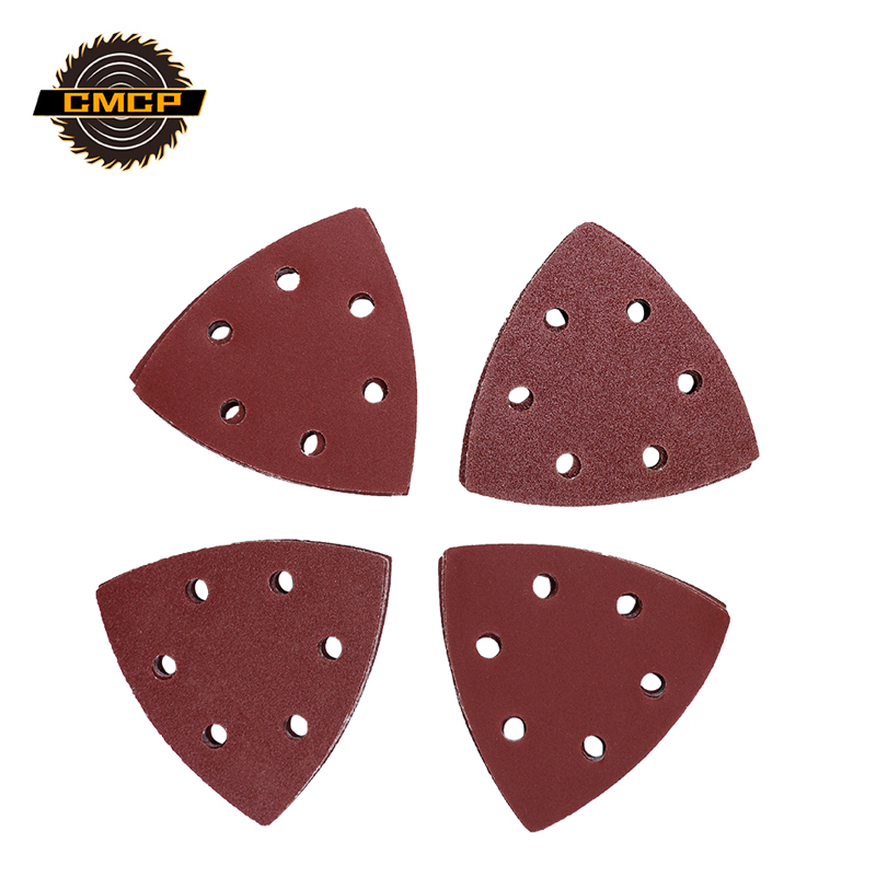 24pcs Triangle 6 Hole Self-adhesive Sandpaper Hook & Loop Sandpaper Disc Multi-Tools Oscillating Saw Blade