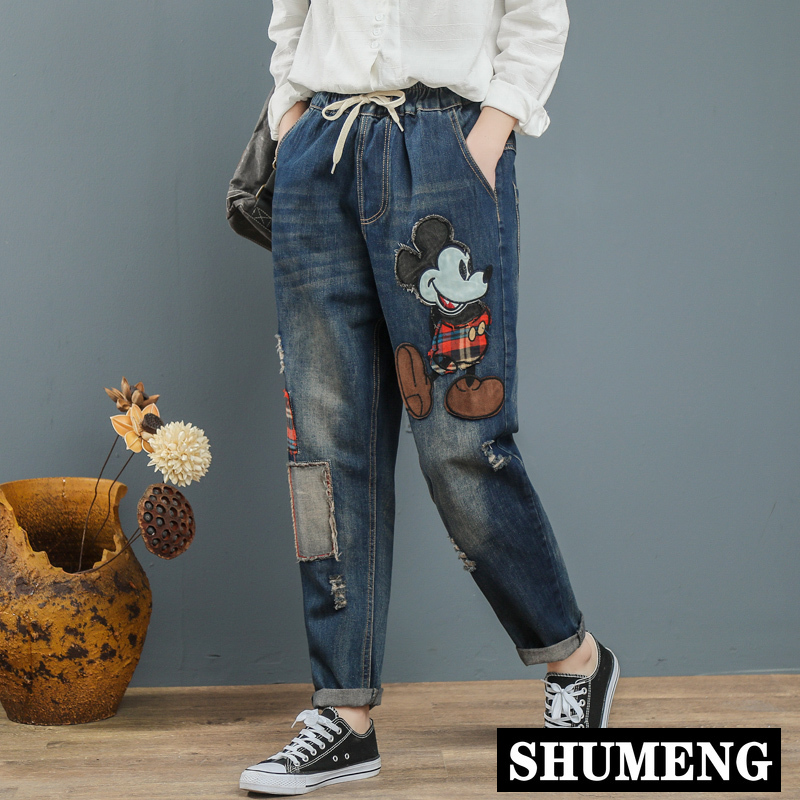 2020 Mum Jeans Mujer Women Boyfriend Jeans For Woman Trousers Cartoon Print Denim Pants Plus Size Jeans Mujer Loose Femme