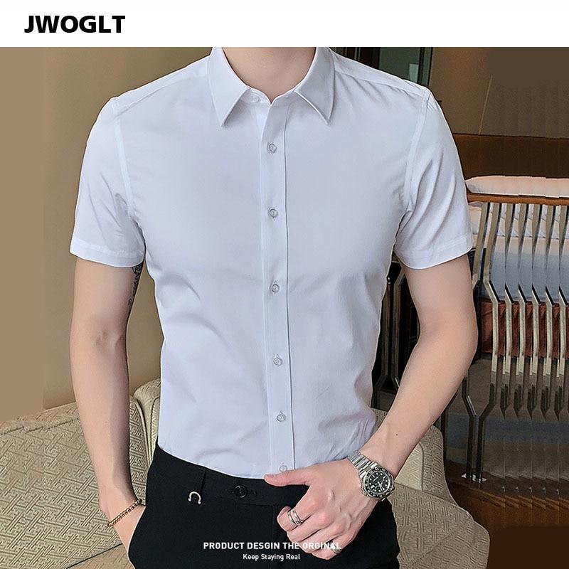 40kg-130kg Summer New Shirts Casual Fashion Cotton Short Sleeve Slim Fit Men Social Shirts Button Down White Dress Shirt 6XL 8XL(China)