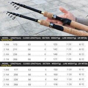 Image 2 - ¡Promoción! Caña de pescar giratoria de 1,8 m, 2,1 m, 2,4 m, 2,7 m, fibra de carbono, telescópica, dura, de viaje, mango de madera