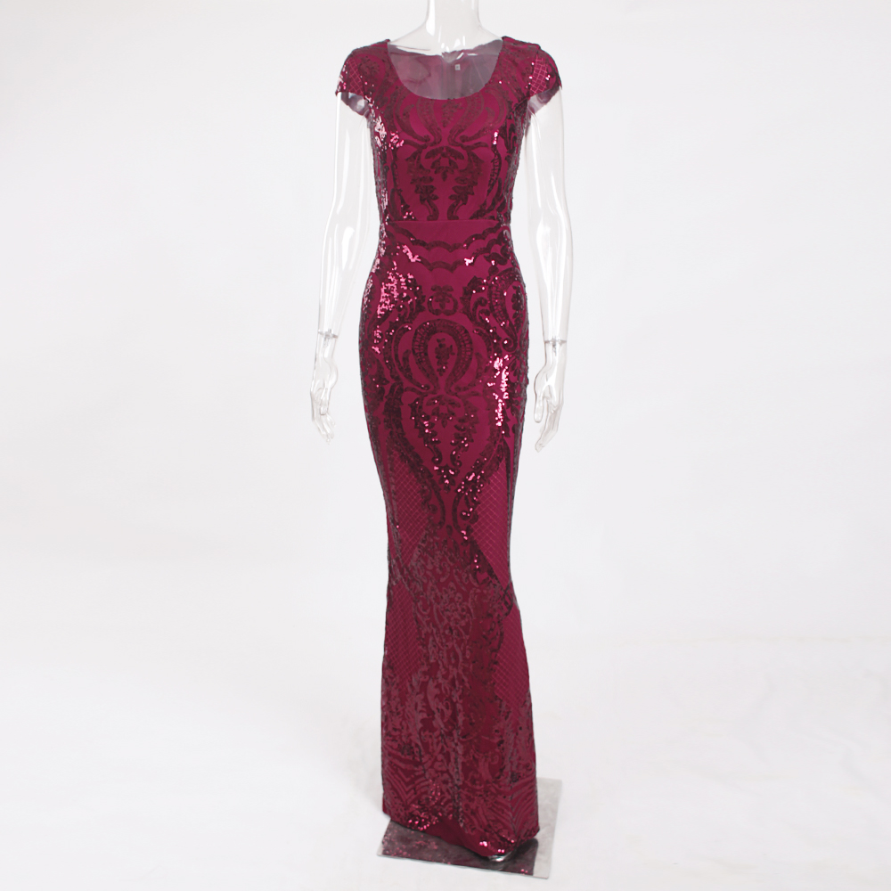 Burgundy Sequined Evening Party Dress Cap Sleeve Floor Length Stretchy Maxi Dress 2019 Autumn Winter 14