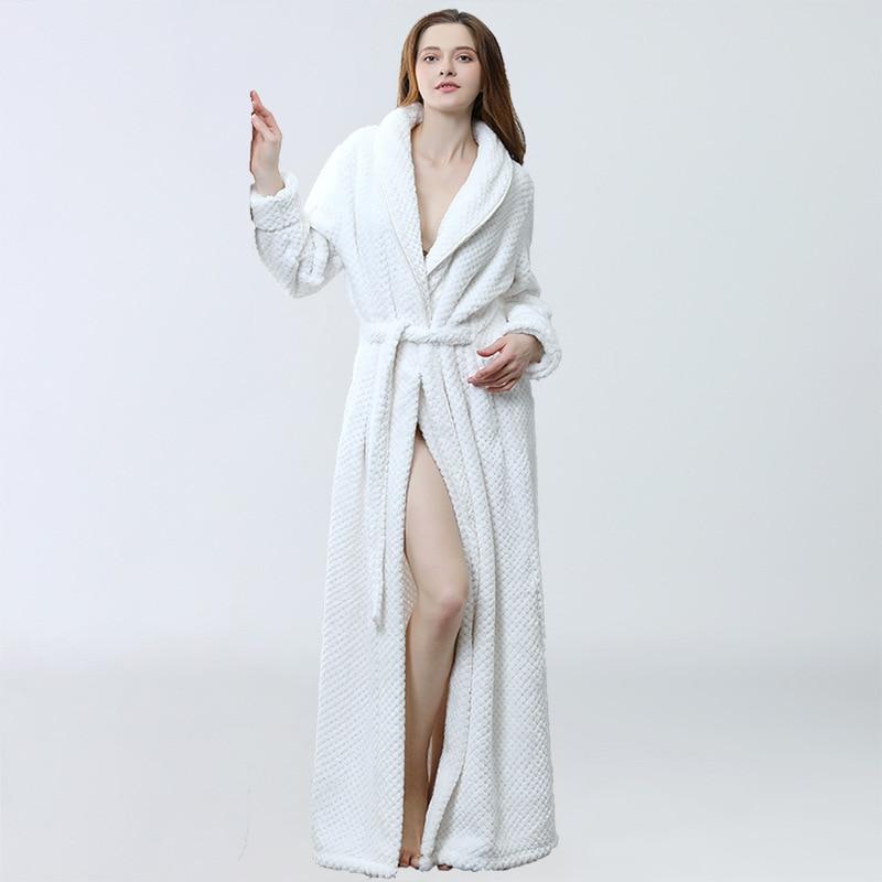 Women Long Warm Coral Fleece Bathrobe Winter Thick Soft Bath Robe Kimono Dressing Gown Bride Homewear Sleepwear