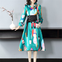Long Sleeve Notched 2019 Autumn Winter New Fashion Women Elegant Dress Geometric Print High Waist Slim Midi Dress