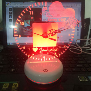 Image 4 - Time Clock Led Night Light Lamp Remote And Touch Switch Control 7 Colors Changeable Desk Light lampe Home Decorations Lighting