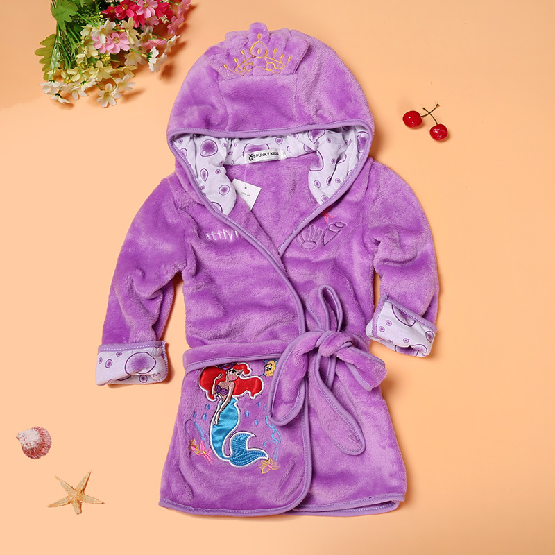 BOY'S Girls' Bathrobe CHILDREN'S Cartoon Bathrobe 2-Color Home Women's Robes